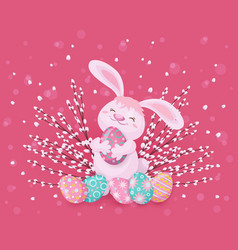 Easter greeting card with bunny eggs and willow vector