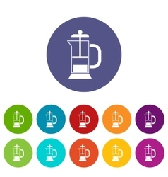 French press coffee maker set icons vector image