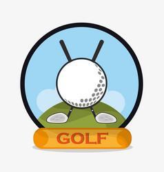 golf ball clubs emblem vector image