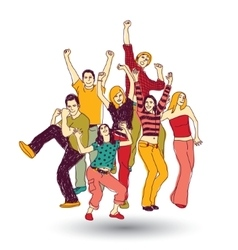 Group happy young people color isolate on white vector image vector image