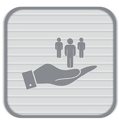 hand holding a silhouette of a men vector image
