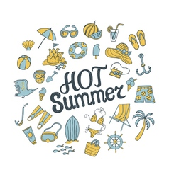 Hot summer round pattern vector