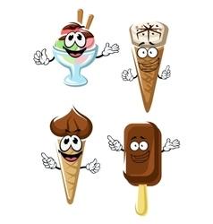 Ice cream cones stick and sundae vector