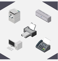 Isometric business set of printing machine vector