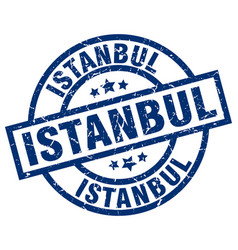 Istanbul blue round grunge stamp vector