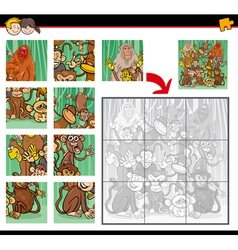 jigsaw puzzle with monkeys vector image vector image