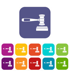 Judge gavel icons set vector