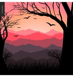 Layered landscape poster vector