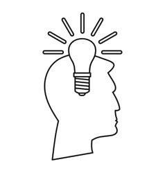 Light bulb idea icon outline style vector