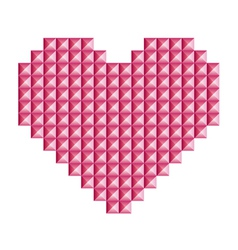 Love heart symbol made of 3d abstract squares vector image