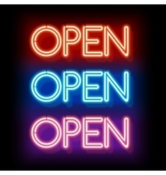 Neon word entry Open vector image vector image