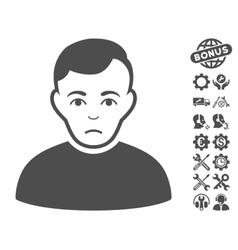 Sad Man Icon With Tools Bonus vector image vector image