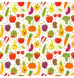Seamless pattern with fresh vegetables and fruits vector