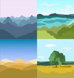 Set of 4 images landscapes vector