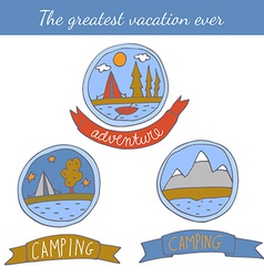 Set of doodle camping badges vector image