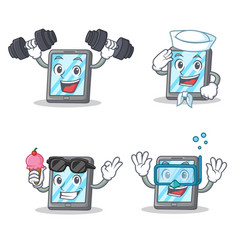 set of tablet character with fitness sailor ice vector image vector image