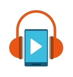 Smartphone player music headphones technology vector