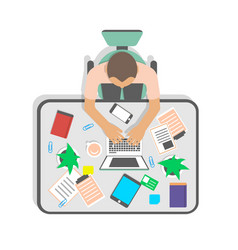 Top view workplace of businessman in office vector