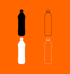 Water plastic bottle black and white set icon vector