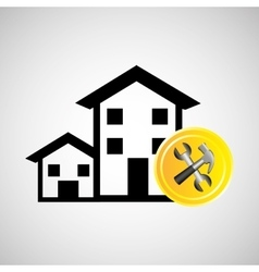 construction remodel hammer and wrench icon vector image