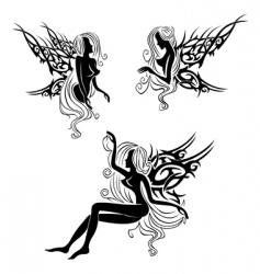 Tattoo with fairies or elves vector
