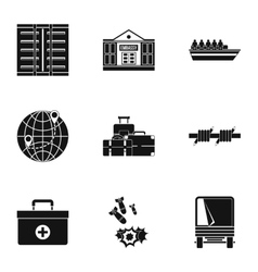 Refugee status icons set simple style vector