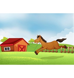 A horse running in the field vector