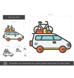 Car trip line icon vector