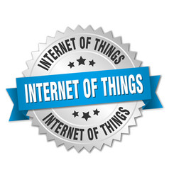 Internet of things round isolated silver badge vector