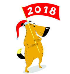 New years dog character with banner cute pet vector