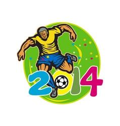 Brazil 2014 football player kick retro vector