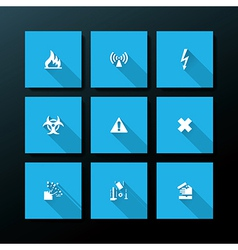 Flat warning icon set vector