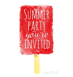 Watercolor ice cream poster with lettering summer vector