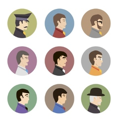 Avatar collection of stylish handsome male vector