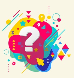 Question mark on abstract colorful spotted vector