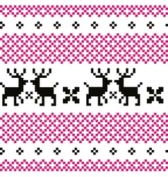 Cute reindeer pattern - black and pink vector