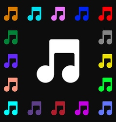 Music note icon sign lots of colorful symbols for vector