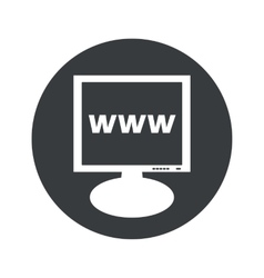 Round www monitor icon vector