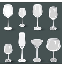 Set of glass wine glasses and champagne for a vector