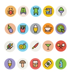Food colored icons 9 vector