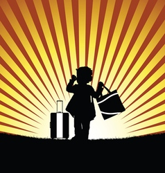 Child with bag silhouette vector