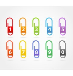 Color paper clips with digits vector image