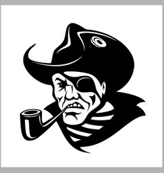 Angry pirate with pipe portrait pirate vector