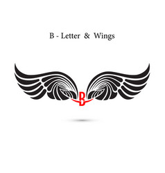 B-letter sign and angel wingsmonogram wing logo vector