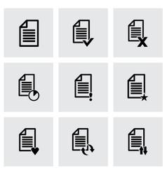 black document icon set vector image vector image