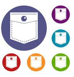 Black pocket symbol icons set vector