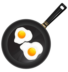 breakfast egge pan two vector image vector image
