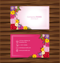 Businesscard template with colorful flowers vector