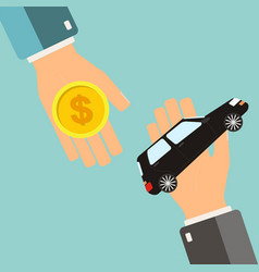 car rental or sale concept hand holding car vector image vector image
