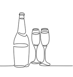 Champagne bottle and two glasses isolated vector